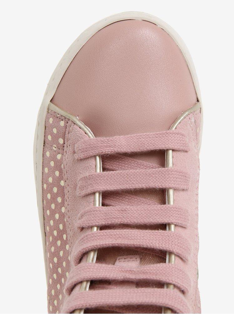 Růžové holčičí semišové kotníkové tenisky Geox Kilwi