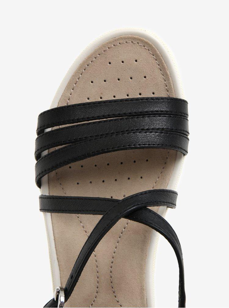 Sandale negre din piele pentru femei Geox Sand.Vega
