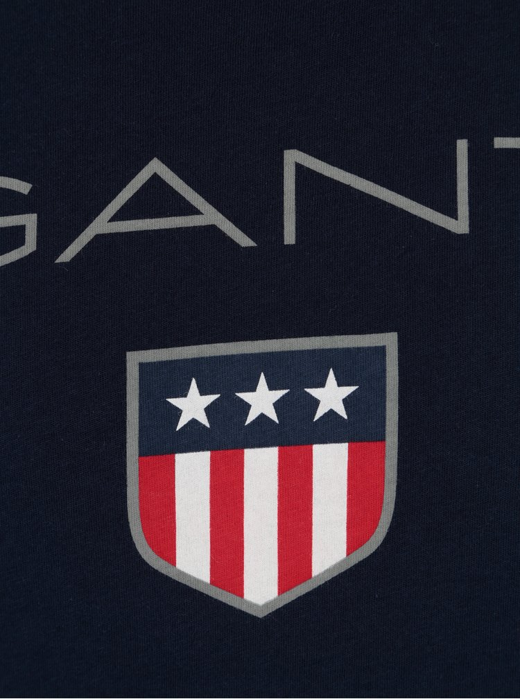 Tmavě modré pánské tričko s krátkým rukávem a potiskem loga GANT