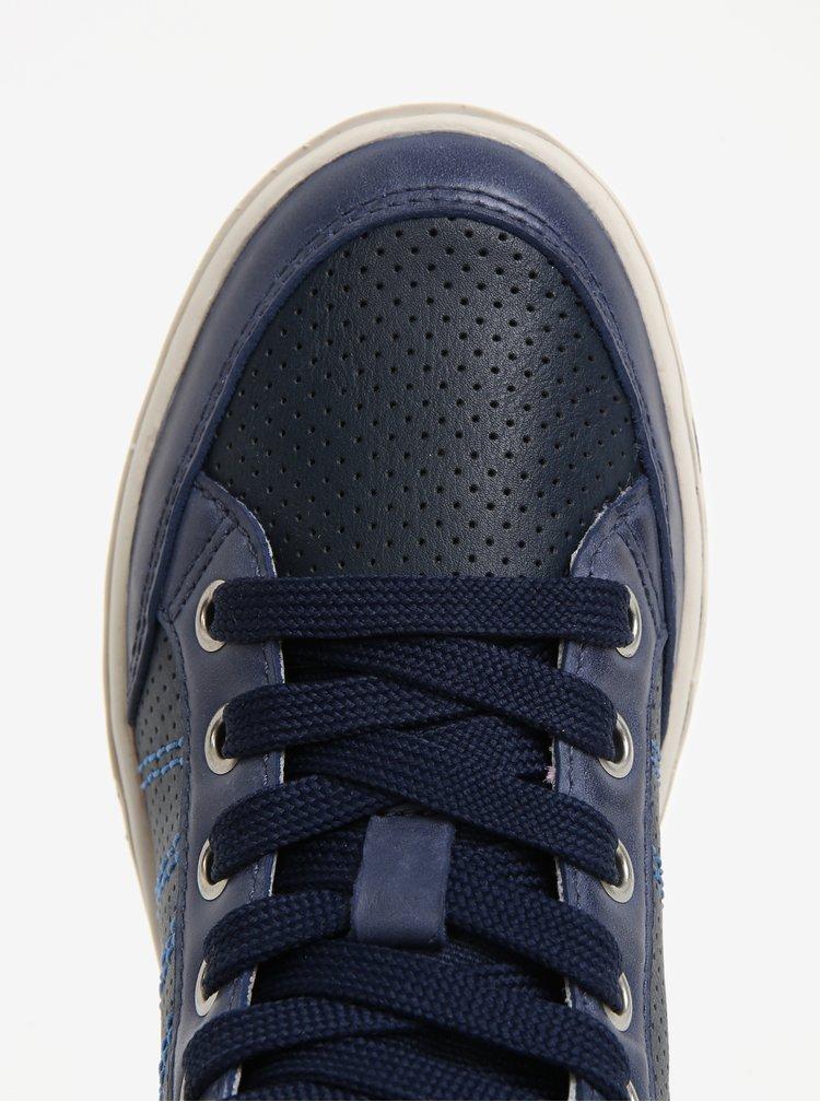 Tmavě modré klučičí kožené kotníkové tenisky Geox Garcia