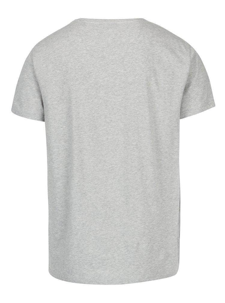 Světle šedé pánské žíhané tričko s potiskem GANT