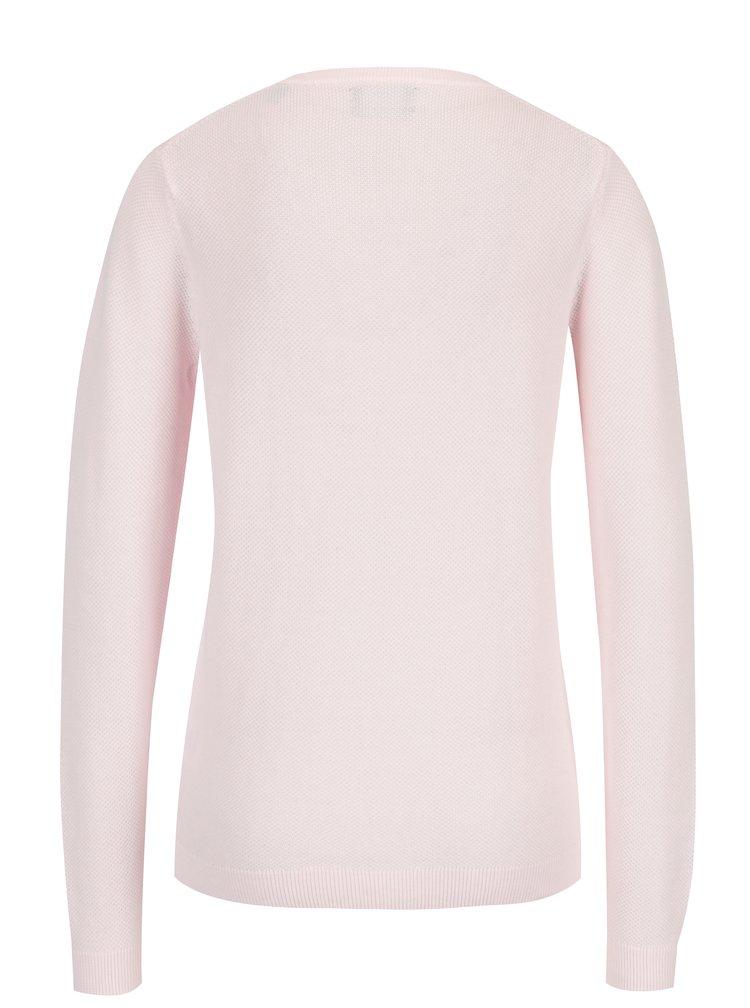 Světle růžový dámský lehký svetr s výšivkou loga GANT