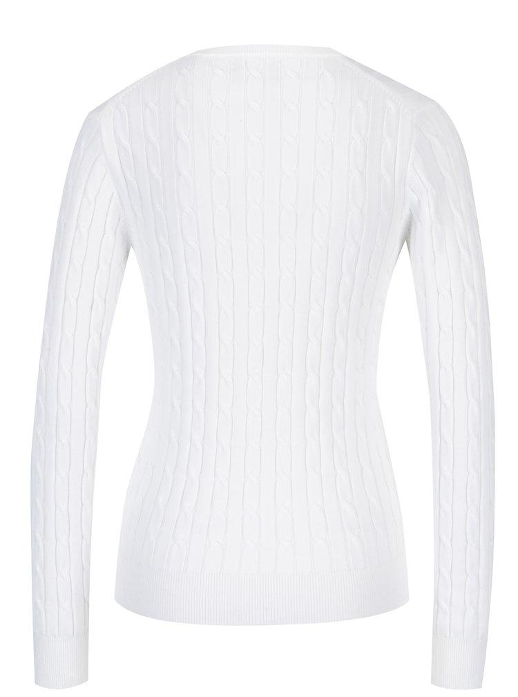Bílý dámský pletený svetr s véčkovým výstřihem GANT