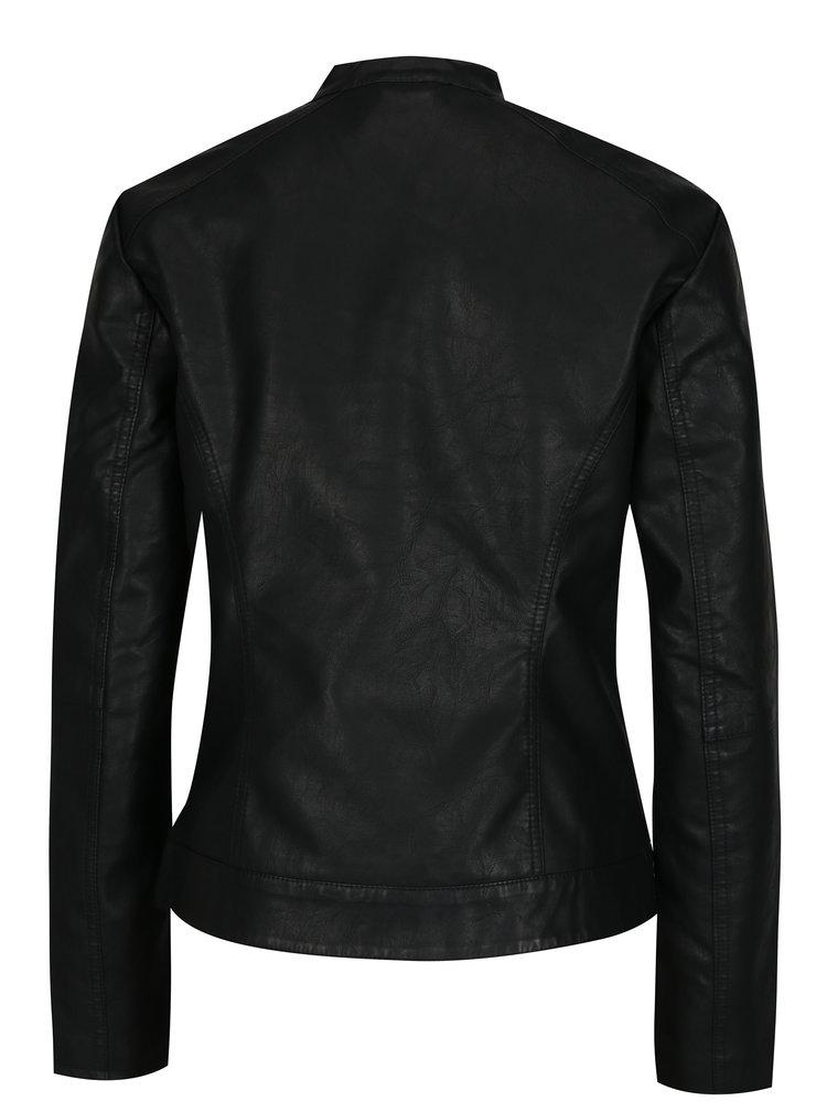 Čierna koženková bunda Jacqueline de Yong Dallas