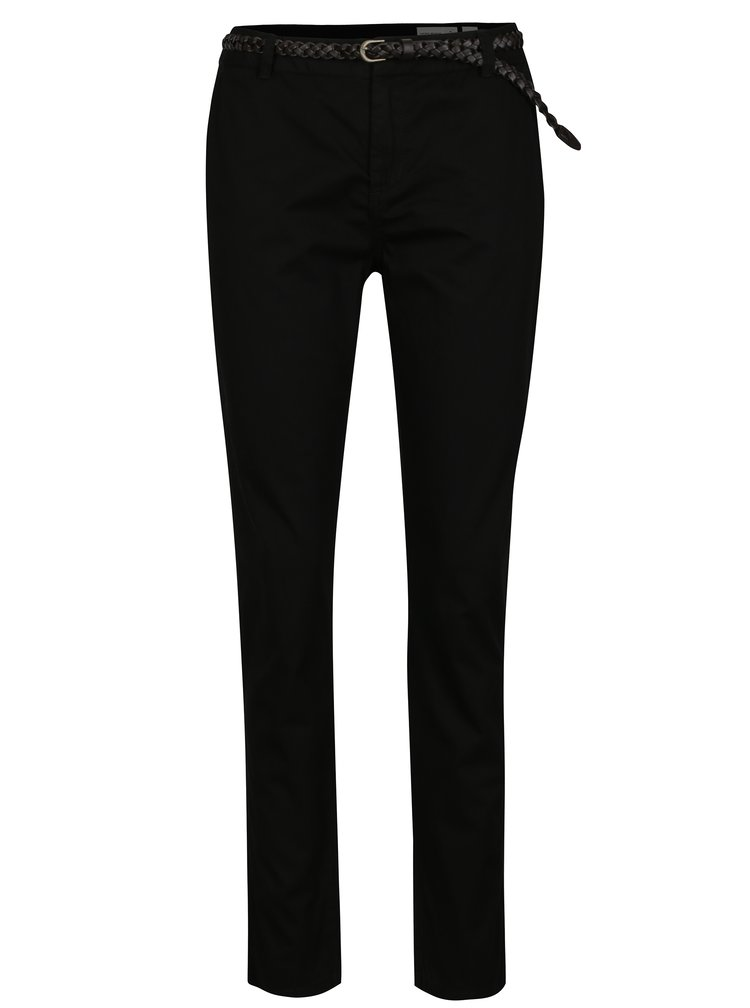 Černé chino kalhoty s páskem VERO MODA Flame