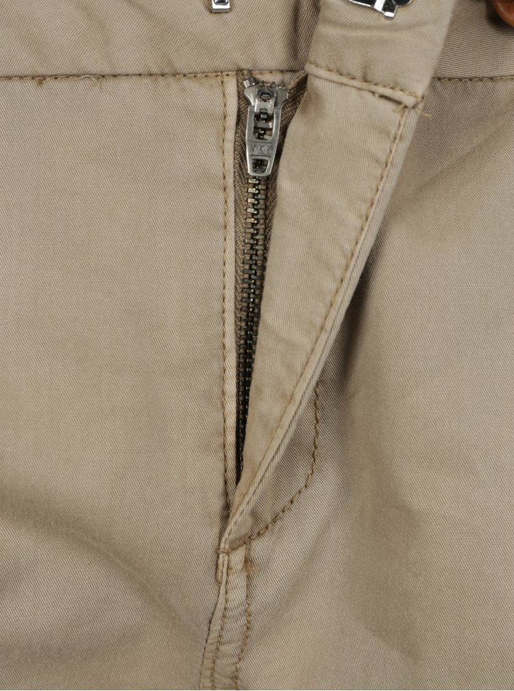 Béžové chino kalhoty s páskem VERO MODA Flame