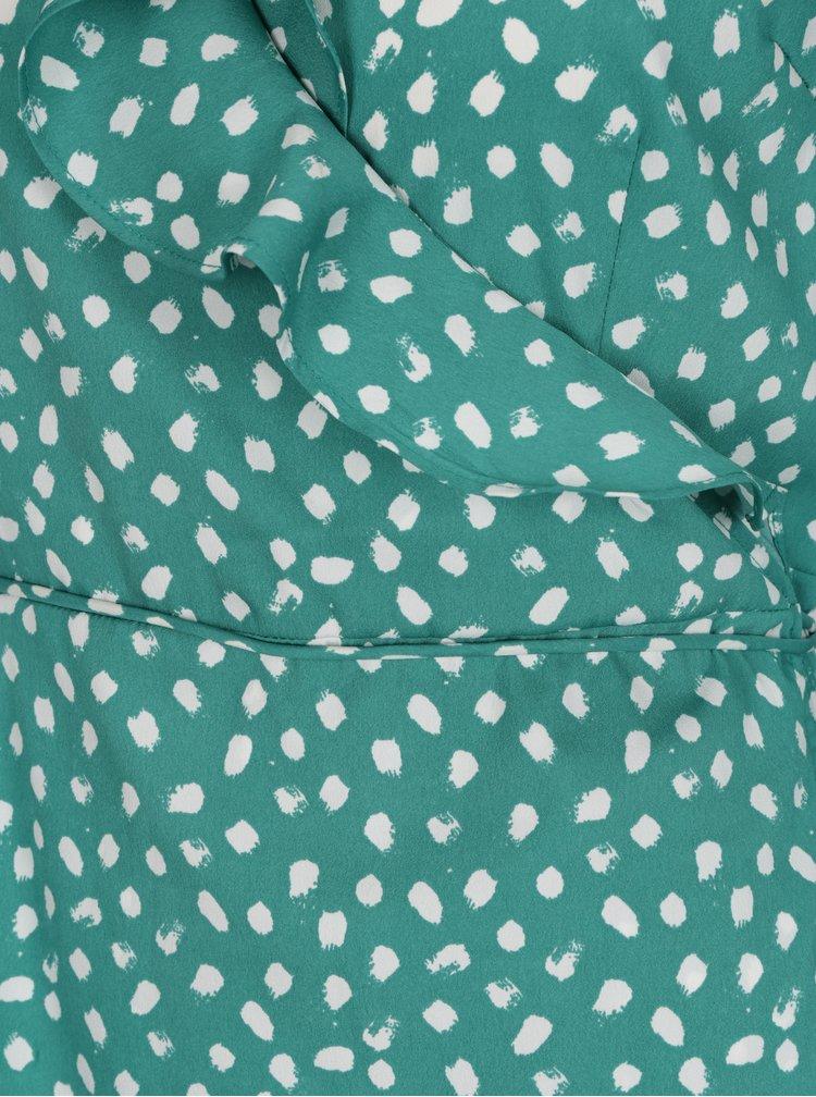 Zelené vzorované zavinovacie šaty s 3/4 rukávom VERO MODA Henna