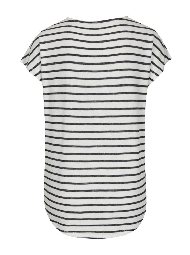 Černo-krémové pruhované basic tričko VERO MODA Wide