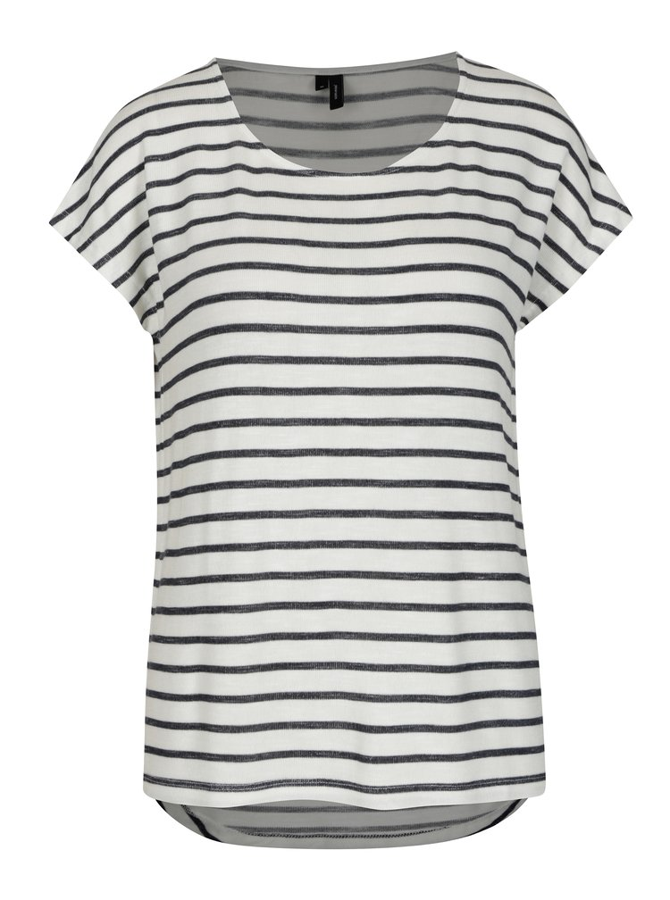 Černo-krémové pruhované tričko VERO MODA Wide