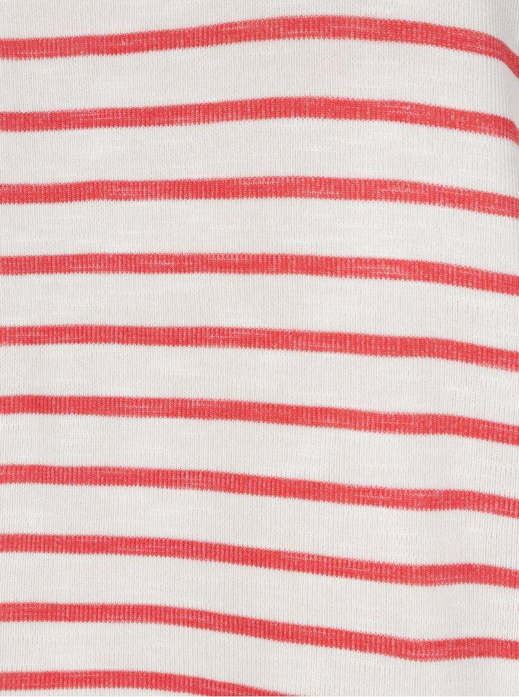 Červeno-krémové pruhované tričko VERO MODA Wide