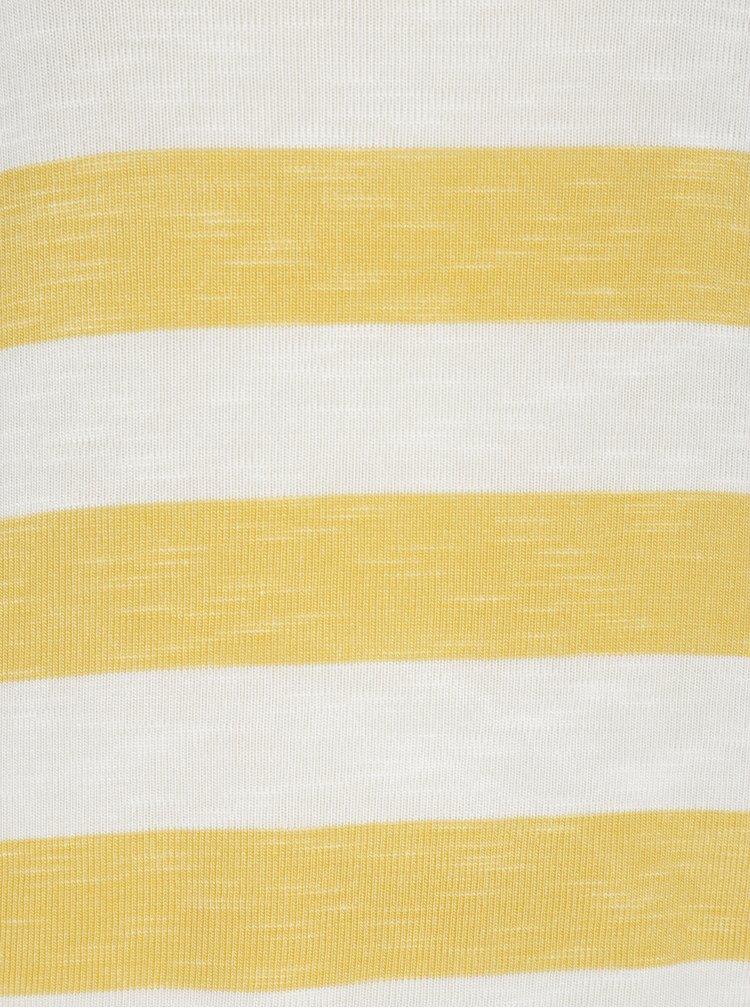 Žluto-krémové pruhované tričko VERO MODA Wide