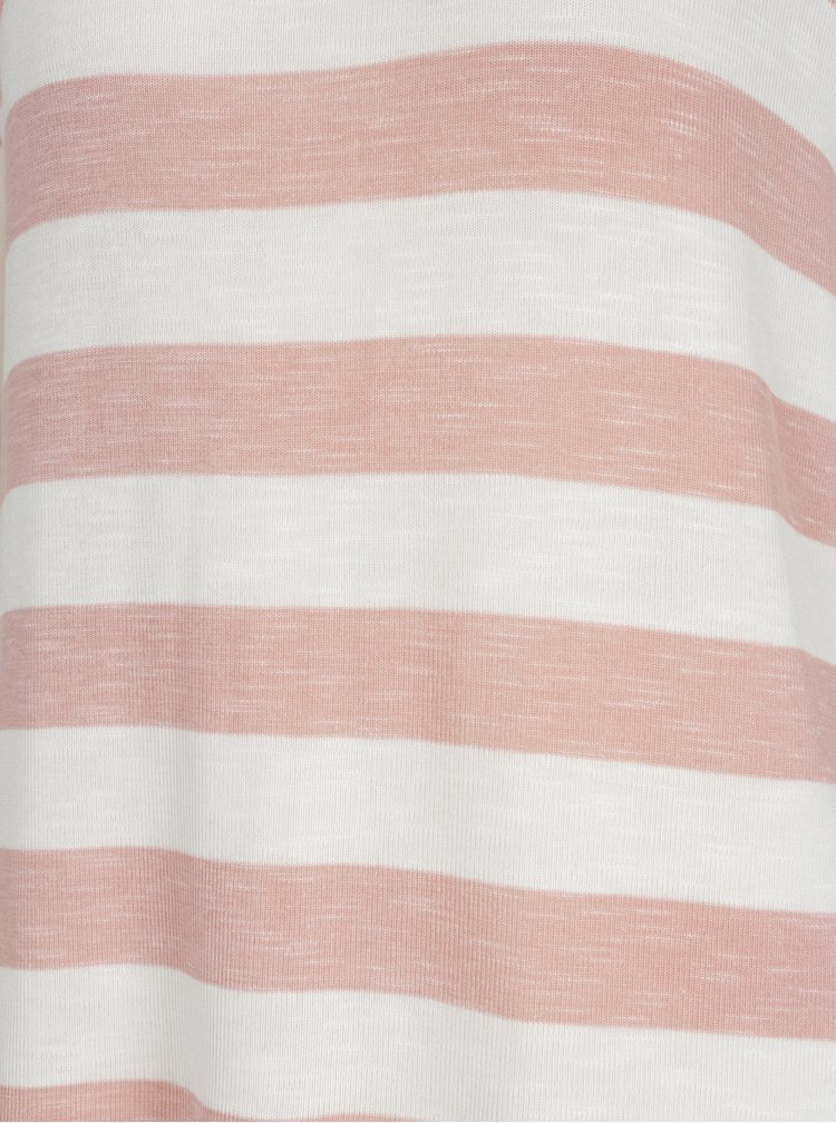 Růžovo-krémové pruhované tričko VERO MODA Wide