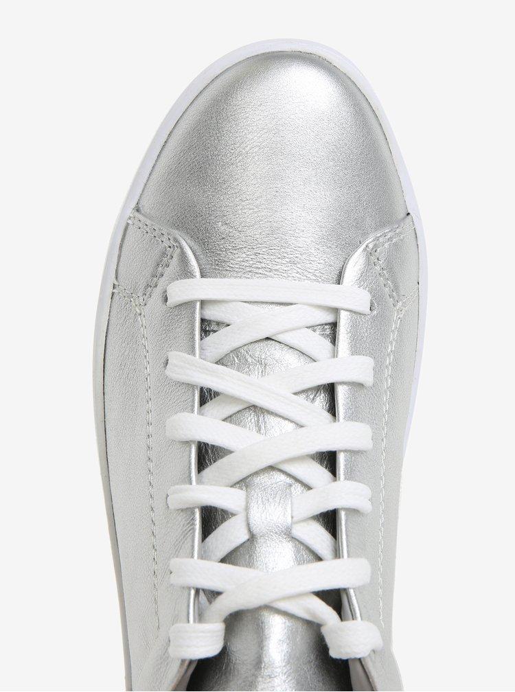 Dámské kožené tenisky ve stříbrné barvě na platformě Vagabond Zoe