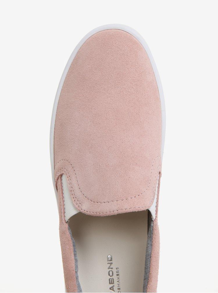 Růžové dámské semišové slip on Vagabond Camille