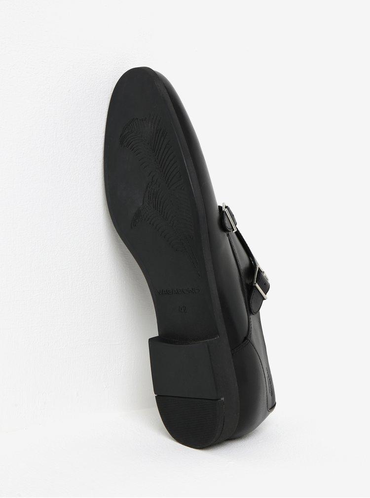 Černé pánské kožené polobotky s přezkami Vagabond Linhope