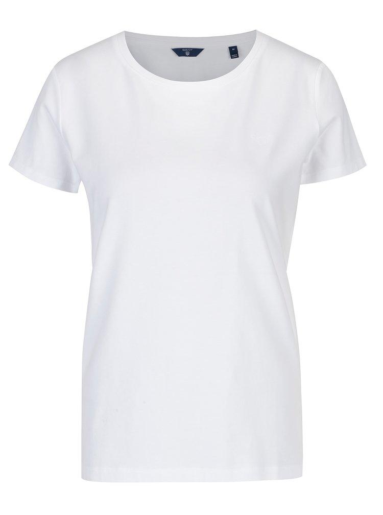 Bílé dámské tričko s kulatým výstřihem GANT