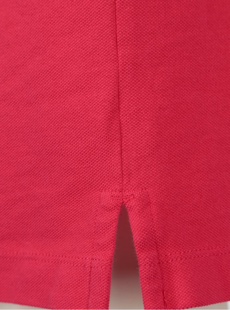 Růžové rovné šaty s knoflíky a límečkem GANT