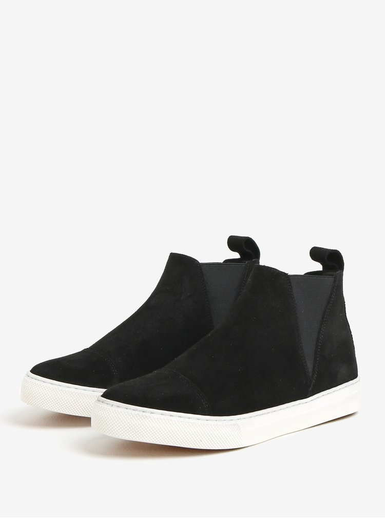 Černé semišové chelsea boty na platformě OJJU UVE-TXB