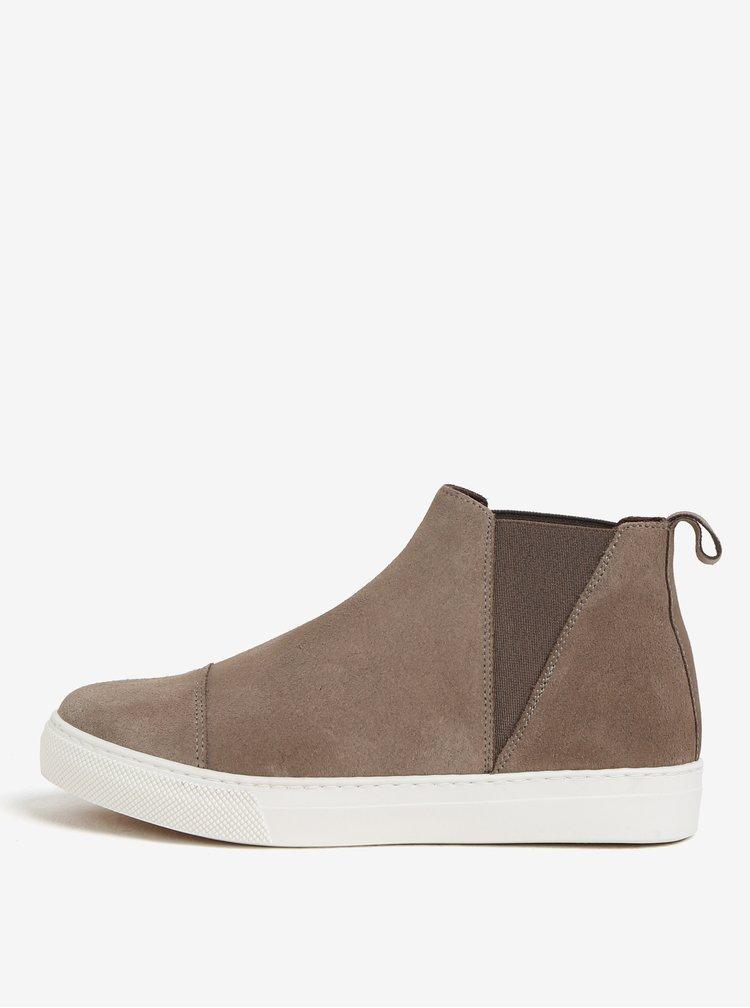 Hnědé semišové chelsea boty na platformě OJJU UVE-TXB