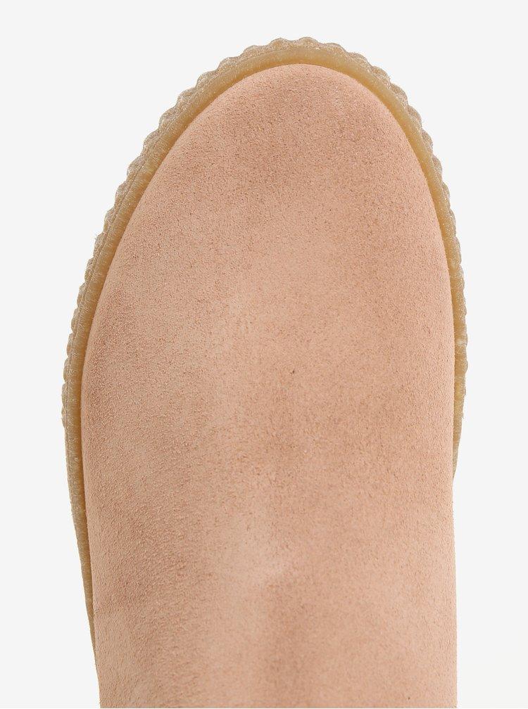 Růžové semišové chelsea boty na platformě OJJU NILO