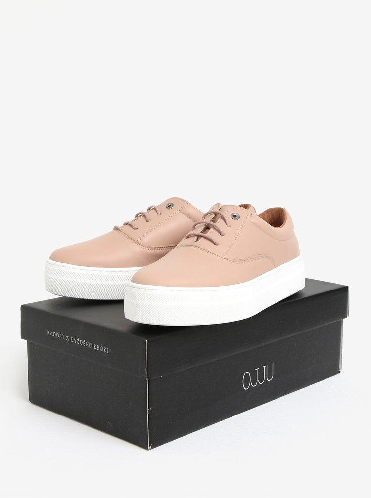 Růžové kožené tenisky na platformě OJJU