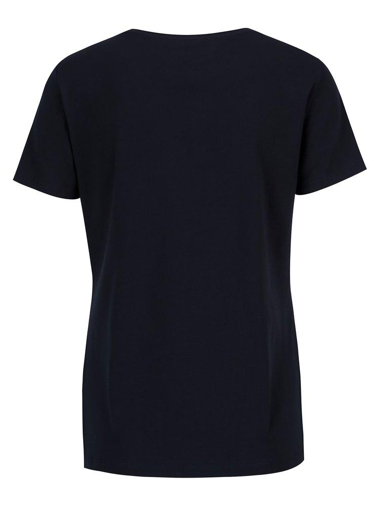 Tmavě modré dámské basic tričko s krátkým rukávem GANT