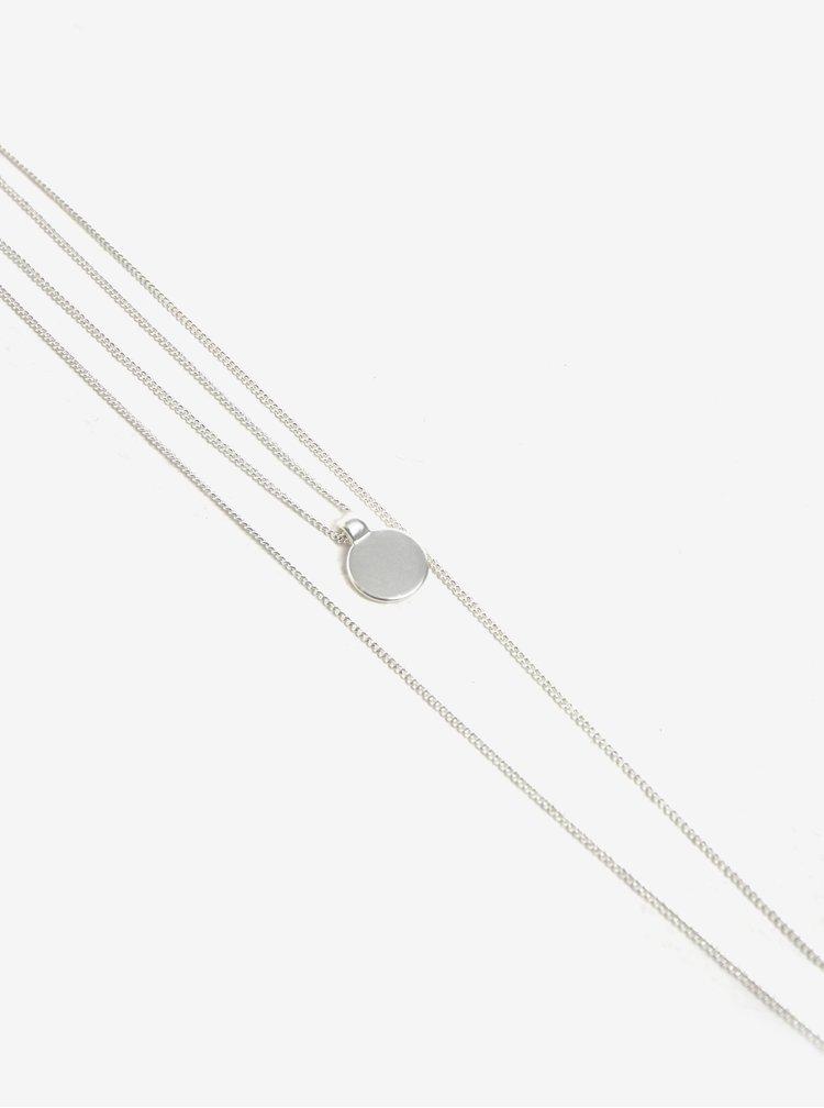 Dvojitý řetízek s přívěskem ve stříbrné barvě Pieces Bree