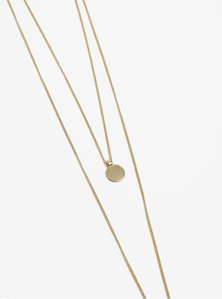 Dvojitý řetízek s přívěskem ve zlaté barvě Pieces Bree