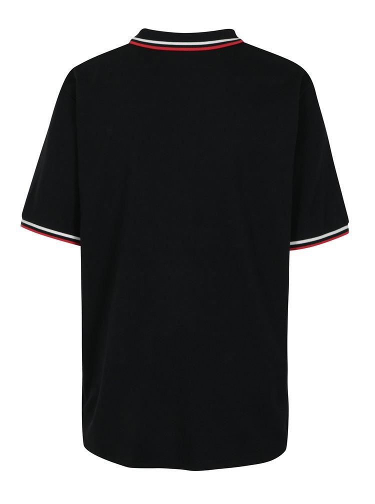 Černé polo tričko s nášivkou Jack & Jones Pop