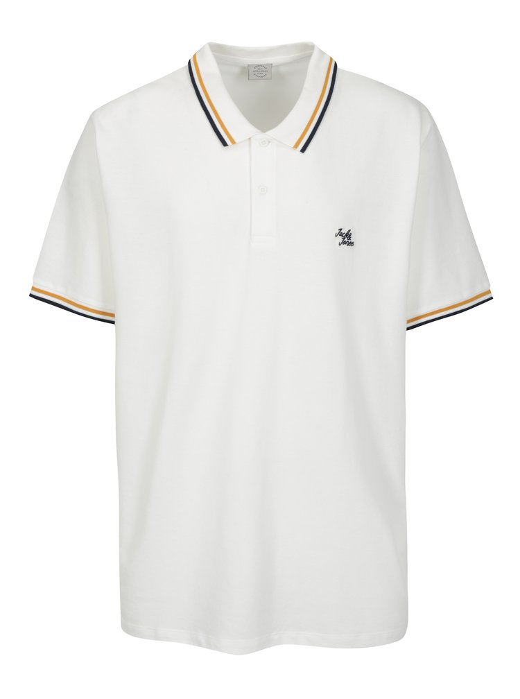 Tricou polo alb cu garnitura in dungi Jack & Jones Pop