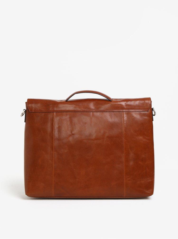 Světle hnědá pánská kožená taška na notebook Royal RepubliQ Omega
