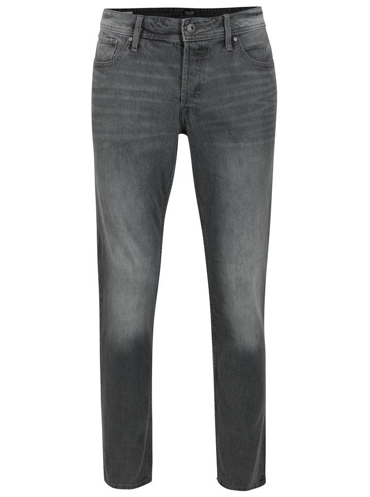 Šedé slim fit džíny s vyšisovaným efektem Jack & Jones Tim