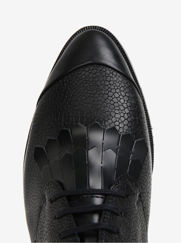 Černé dámské kožené polobotky s třásněmi Royal RepubliQ