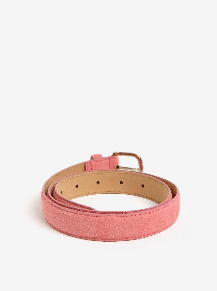 Růžový dámský semišový pásek s kovovou sponou ve zlaté barvě GANT