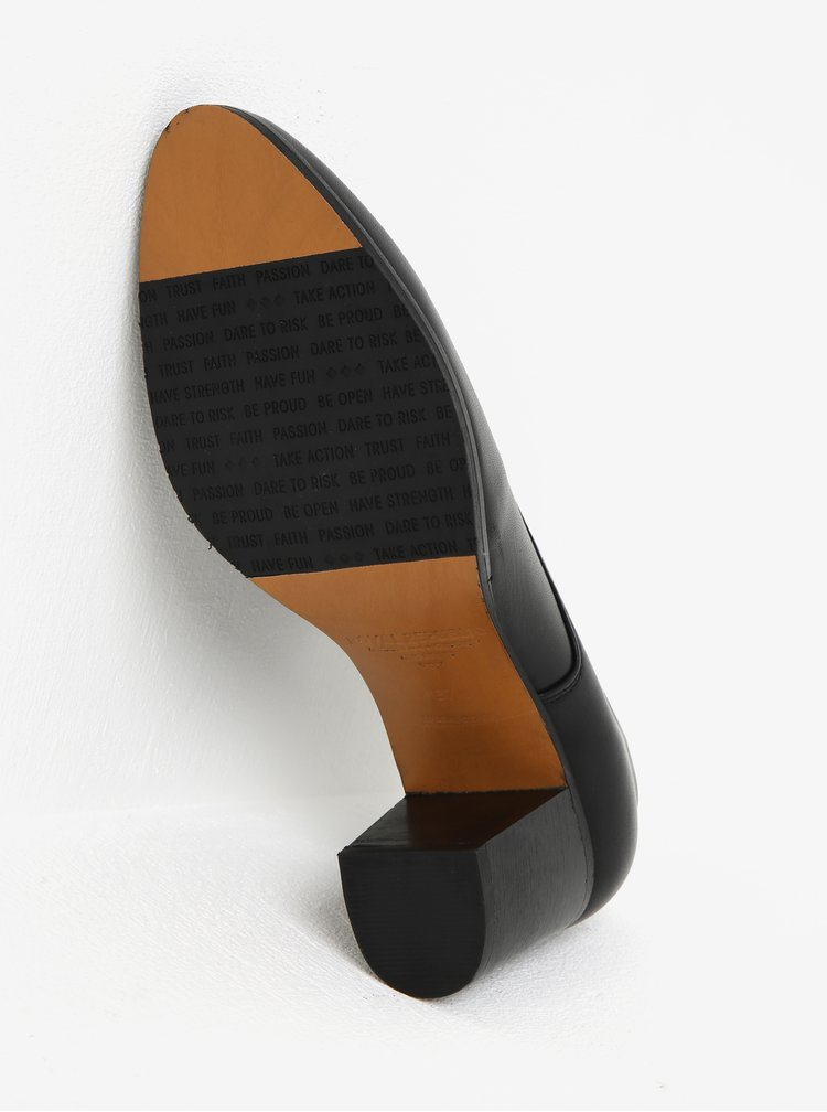 Černé dámské kožené polobotky na podpatku Royal RepubliQ