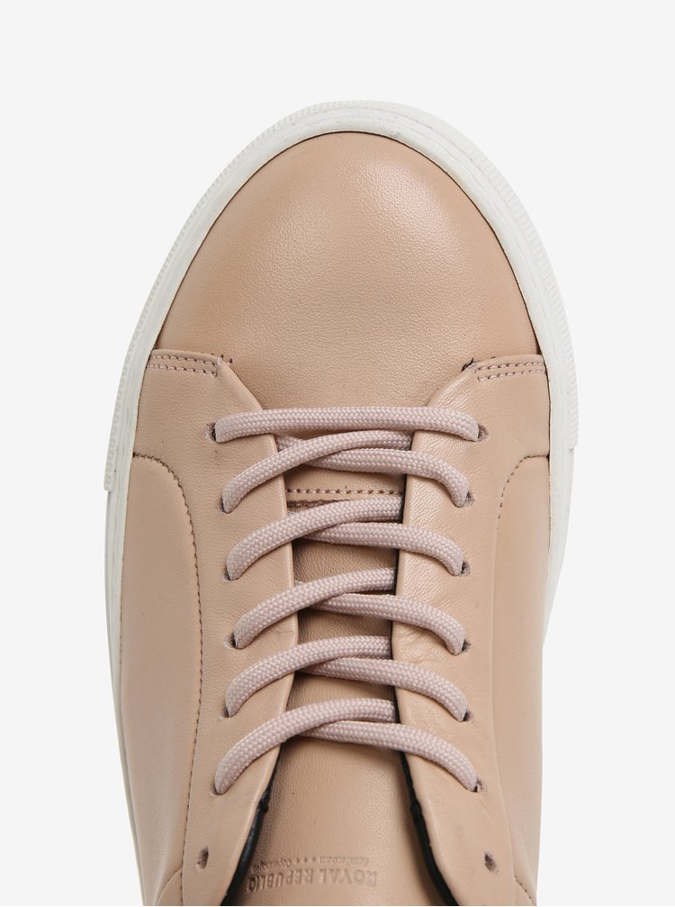 Světle růžové dámské kožené tenisky Royal RepubliQ