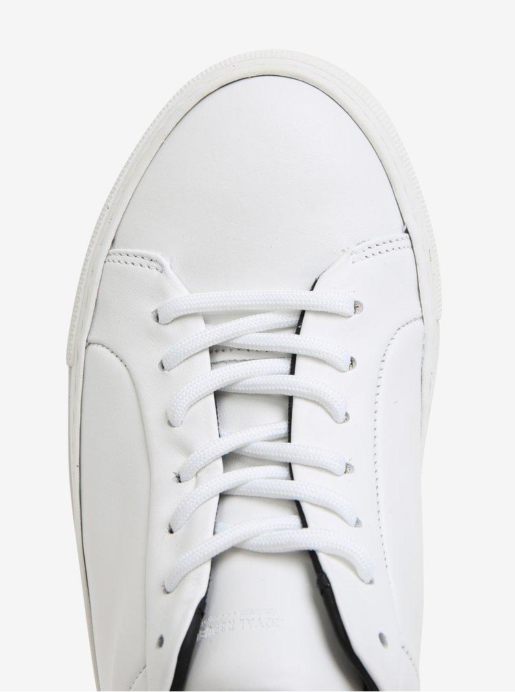 Tenisi albi din piele cu detalii bej pentru femei - Royal RepubliQ