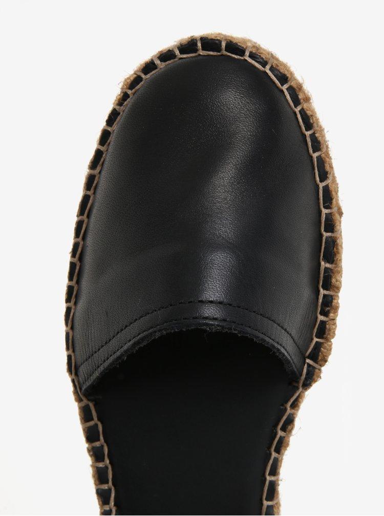 Černé dámské kožené espadrilky s páskem a přezkou Royal RepubliQ