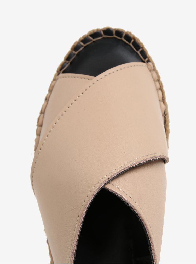 Papuci roz pal din piele cu platforma pentru femei - Royal RepubliQ
