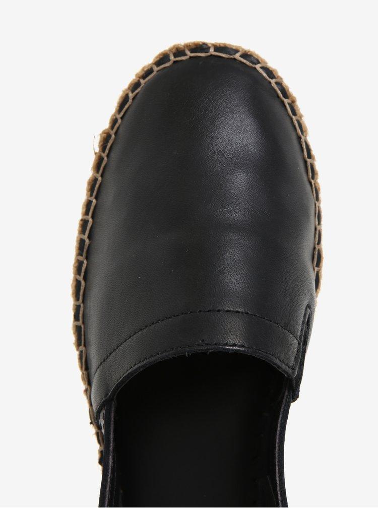 Černé dámské kožené espadrilky na platformě Royal RepubliQ