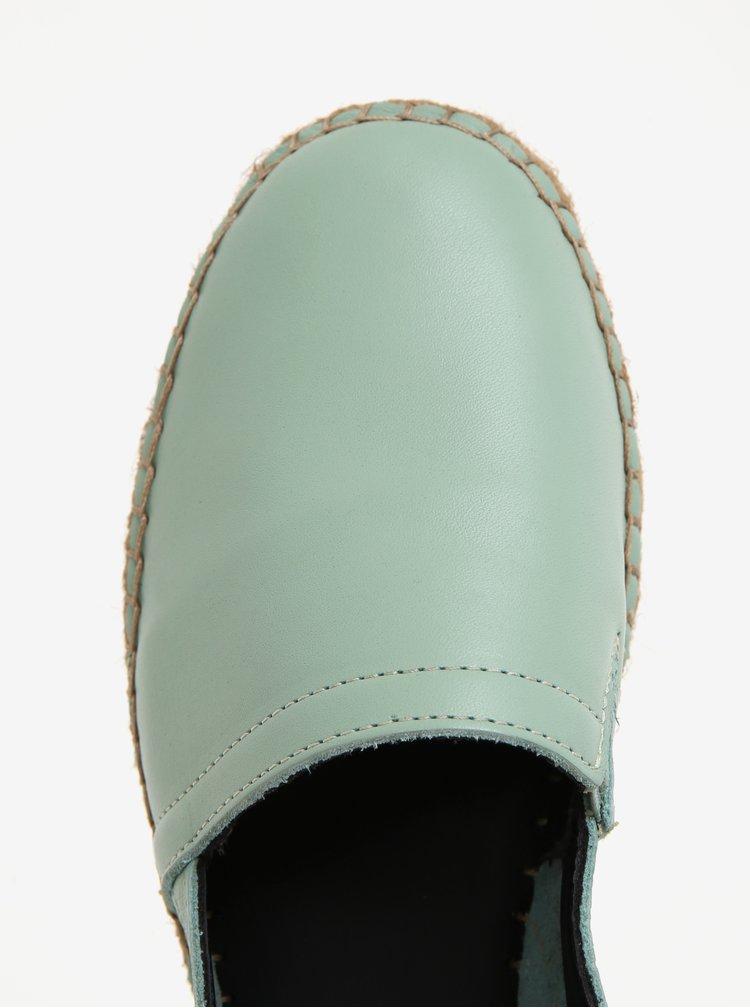 Zelené dámské kožené espadrilky na platformě Royal RepubliQ