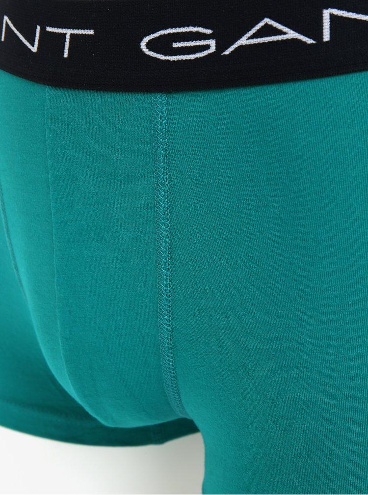 Sada tří boxerek v modré a zelené barvě GANT