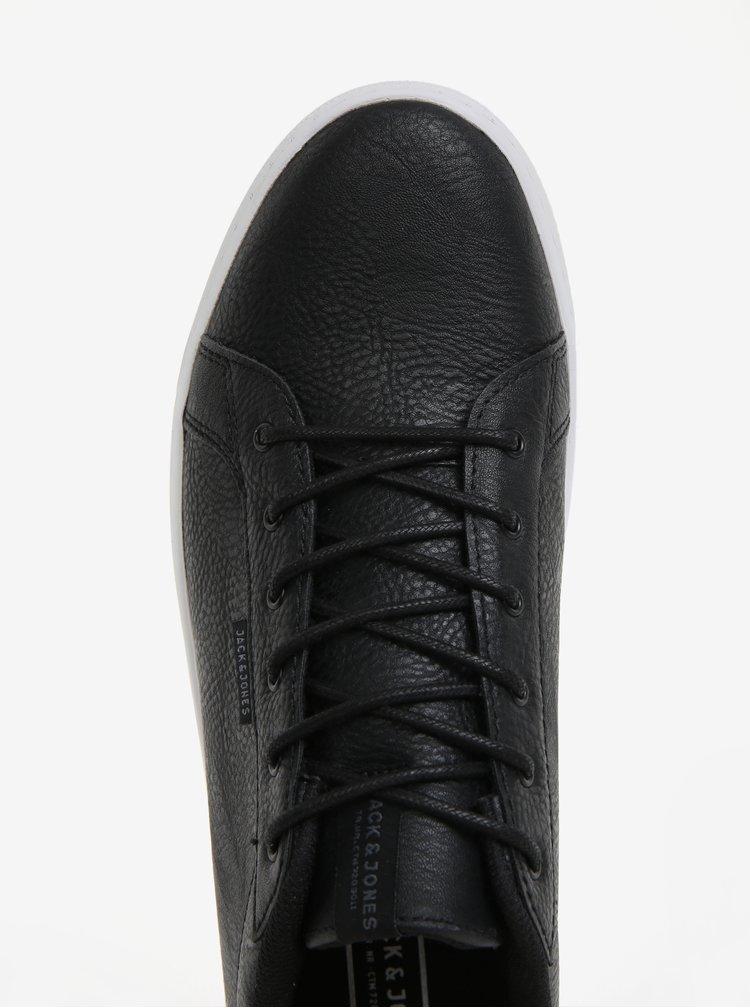 Černé pánské koženkové tenisky Jack & Jones Trent