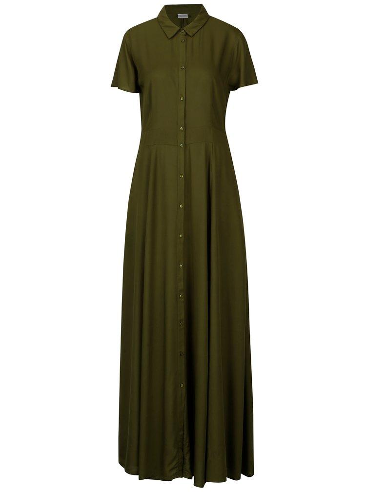 Zelené košilové maxišaty šaty VILA Dona
