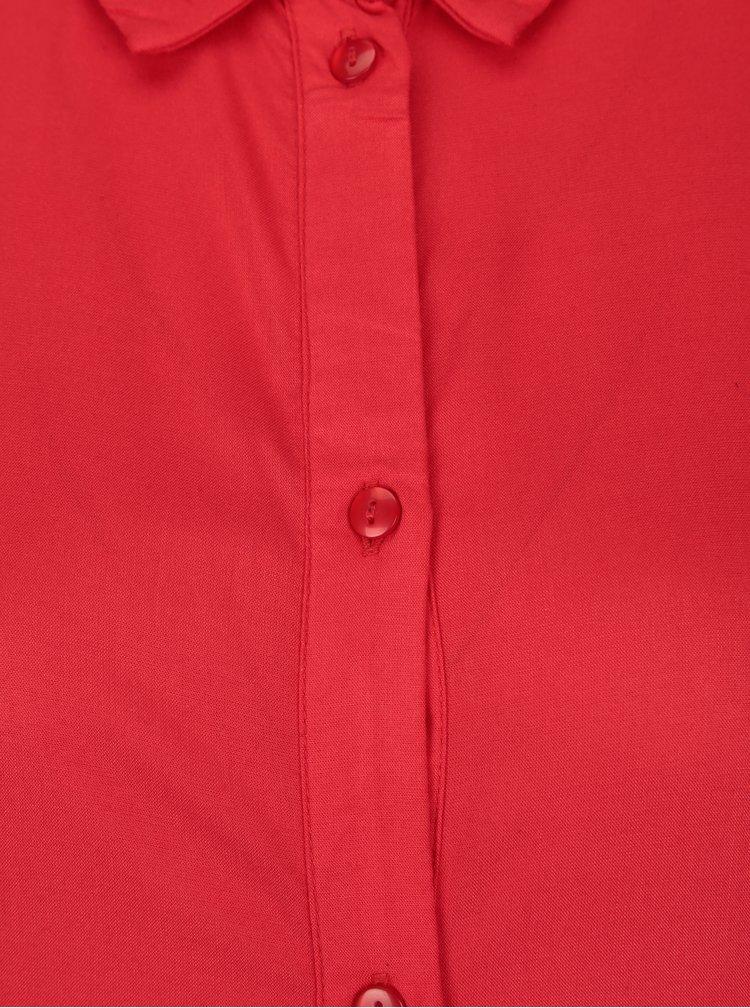 Červené košilové maxišaty šaty VILA Dona