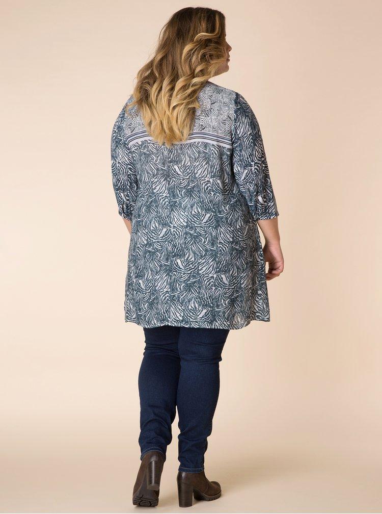 Krémovo-modrá vzorovaná dlouhá košile Yest