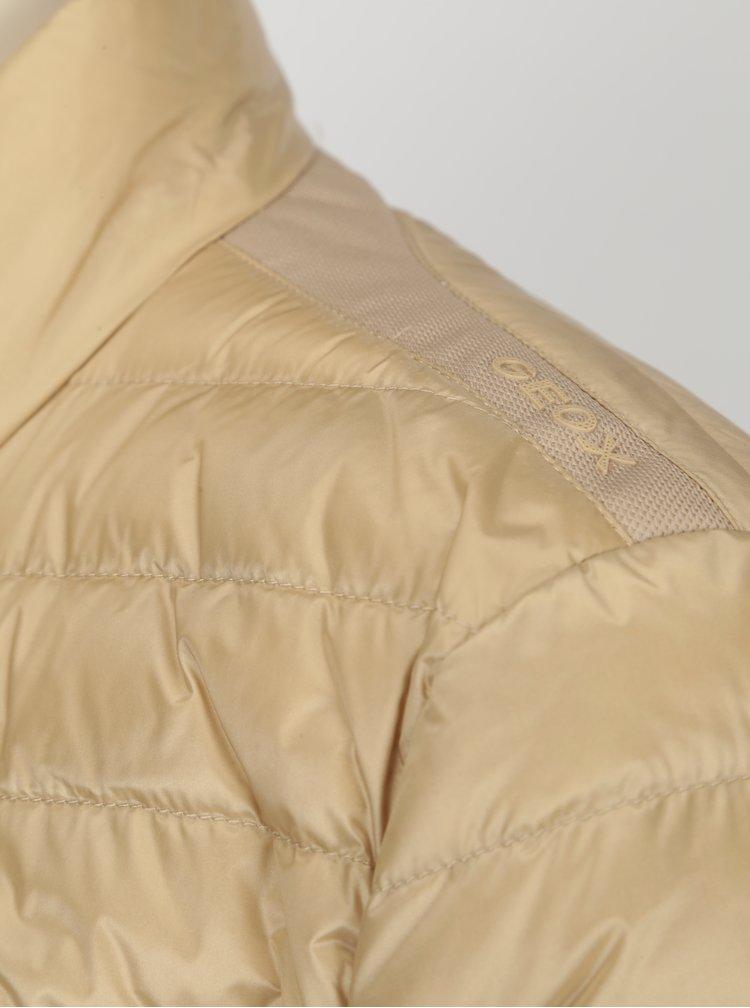 Béžová prošívaná dámská lehká bunda Geox