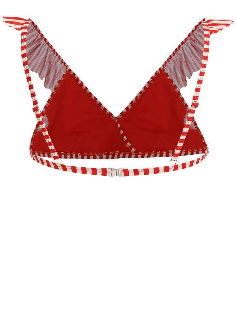 Krémovo-červený pruhovaný horní díl plavek Y.A.S Samui