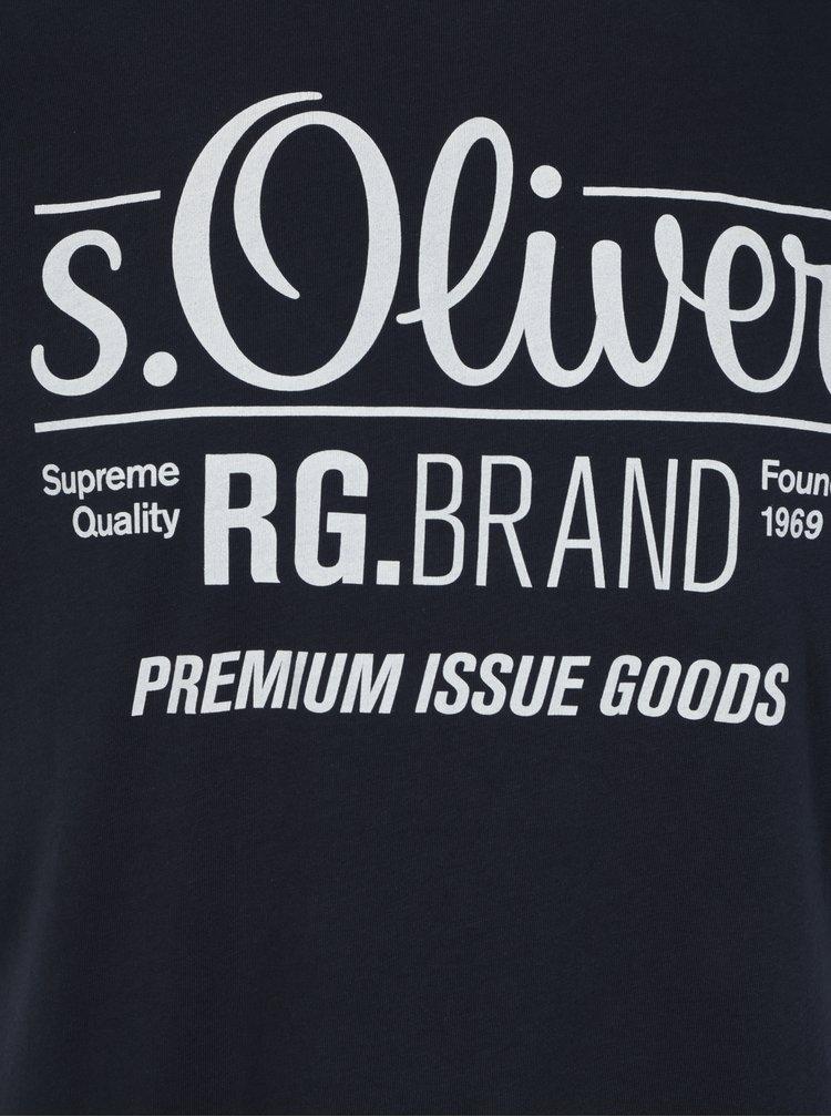 Tricou bleumarin regular fit cu print logo pentru barbati - s.Oliver