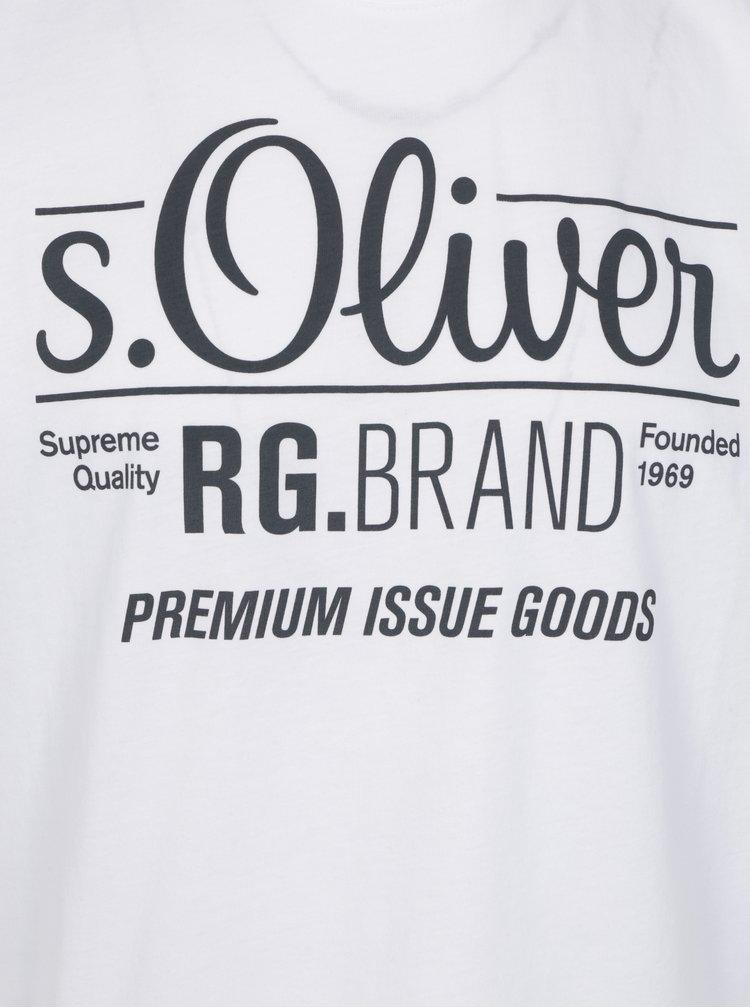 Tricou alb regular fit cu print logo pentru barbati - s.Oliver
